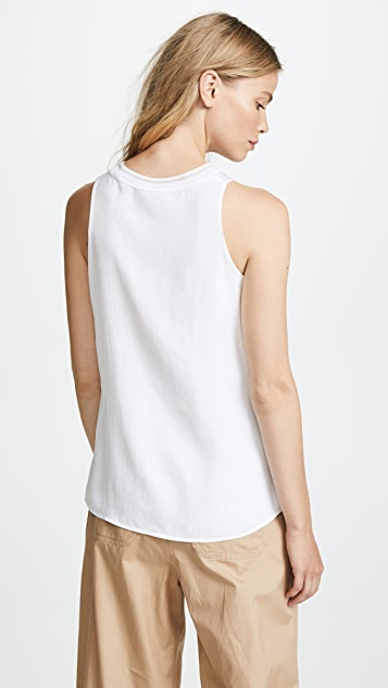 Vince Ribbed Trim Tank Top