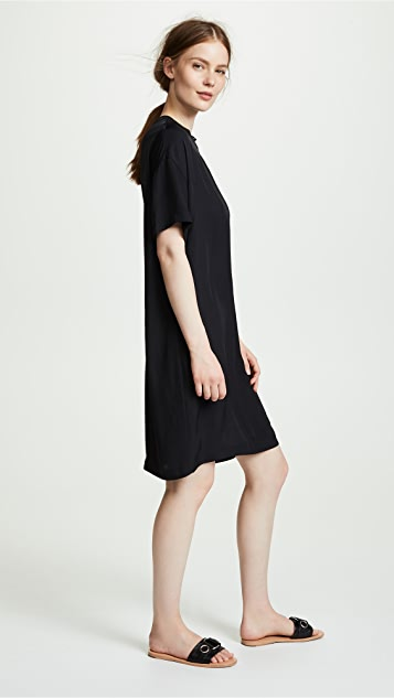 Vince Ribbed Trim T-Shirt Dress