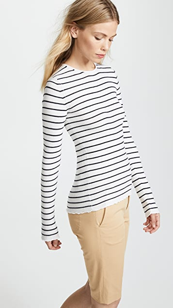 Vince Stripe Ribbed Crew Sweater
