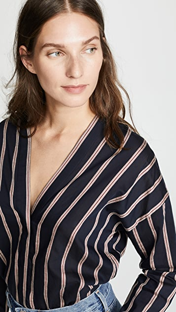 Vince Textured Stripe Blouse