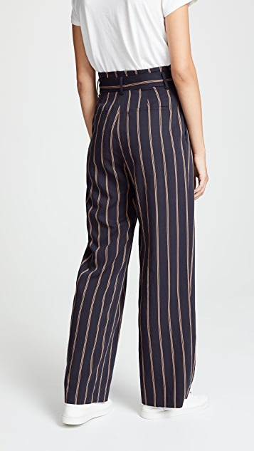 Vince Belted Stripe Wide Leg Pants