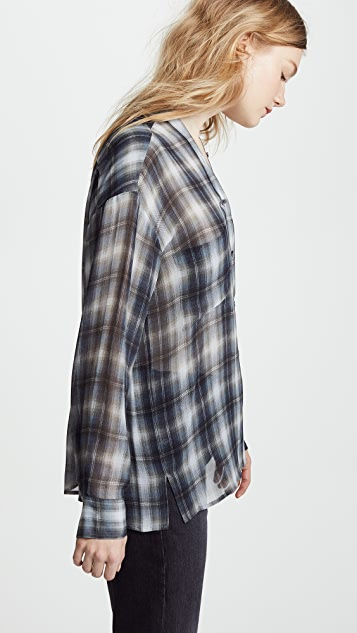 Vince Shadow Plaid Blouse