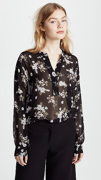Vince Floral Drape Pullover