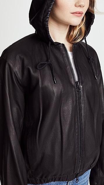 Vince Leather Zip Up Hoodie