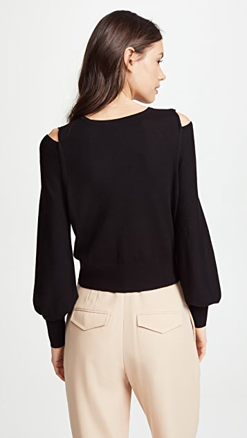 Vince Overlap Shoulder Slit Sweater