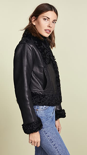 Vince Leather Shearling Moto Jacket