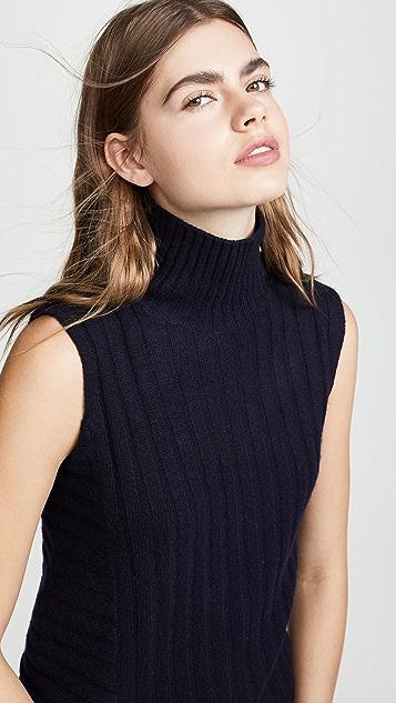 Vince Rib Sleeveless Turtleneck Sweater