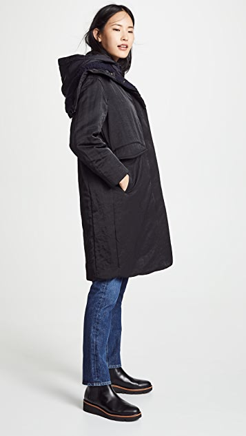 Vince Mixed Media Puffer Coat