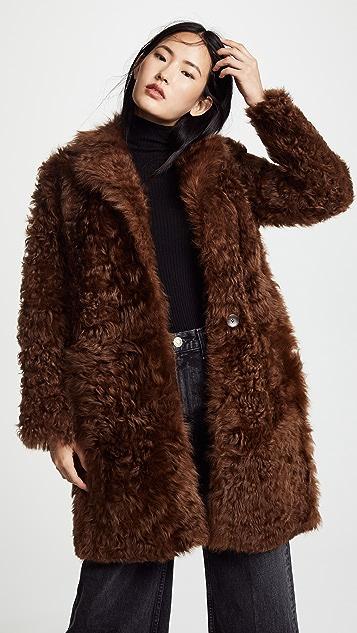 Vince Двустороннее пальто из короткого меха