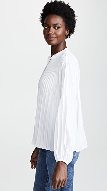Vince Chevron Pleated Blouse