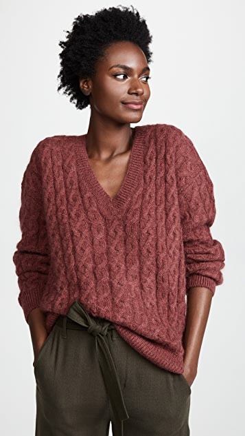Vince Cable Knit V Neck Sweater