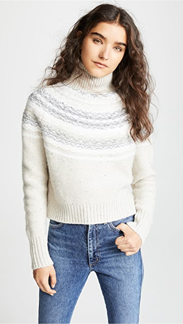 Vince Cropped Fair Isle Turtleneck Sweater