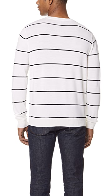 Vince Striped Textured Crew Sweater