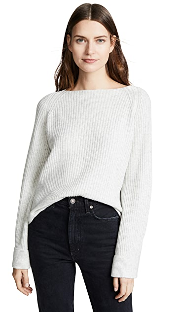 Vince Ribbed Boat Neck Wool Pullover