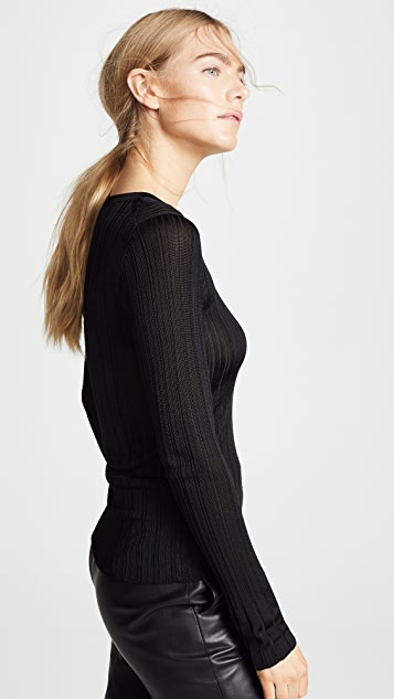 Vince Ribbed Crew Neck Pullover