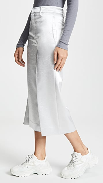 Vince Metallic Crop Wide Leg Trousers