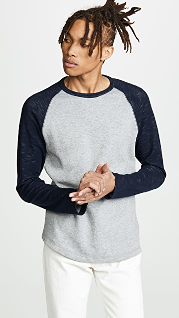 Vince Colorblock Double Knit Crew Neck Shirt