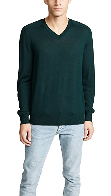 Vince Merino Wool Elbow Patch V Neck Sweater