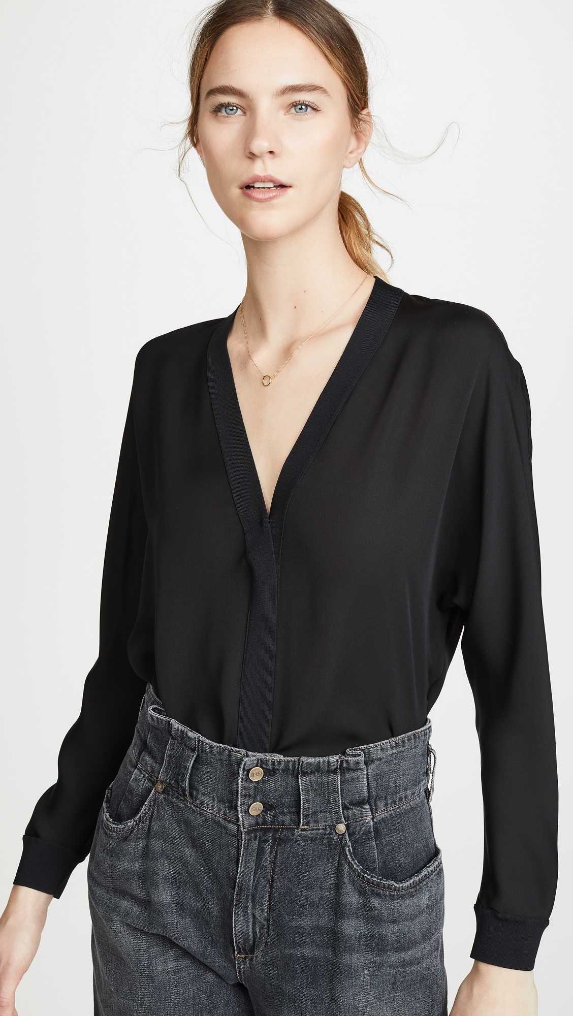 Vince Rib Trim Silk V Neck Top