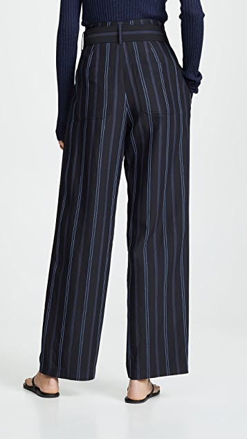 Vince Dobby Stripe Belted Pants