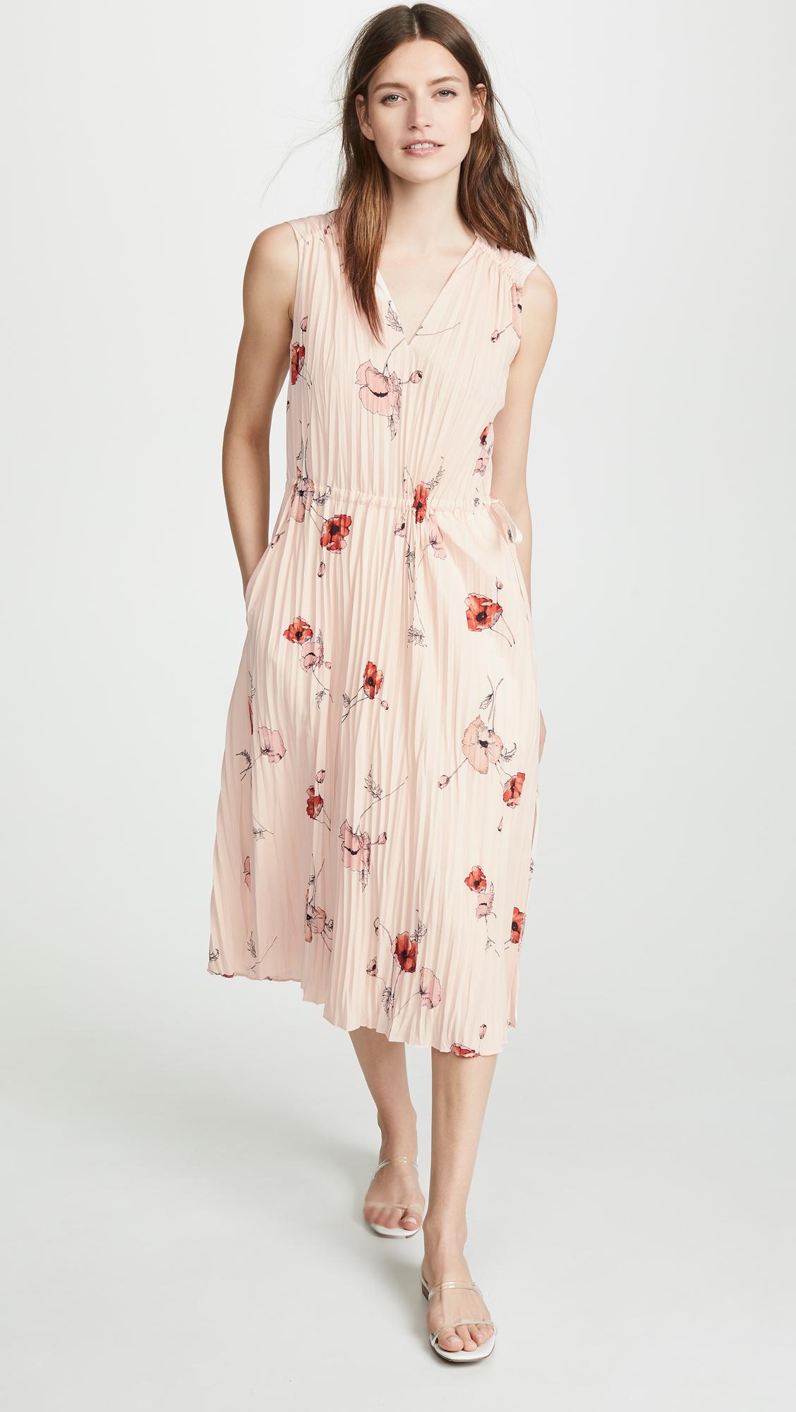 Vince Tossed Poppy V Neck Pleated Dress