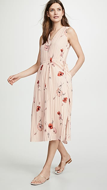 Vince Tossed Poppy V Neck Pleated Dress