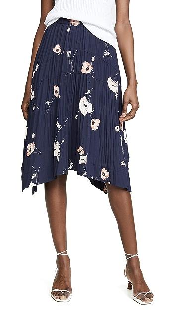 Vince Tossed Poppy Pleated Skirt