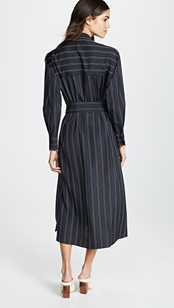 Vince Bold Stripe Belted V-Neck Dress