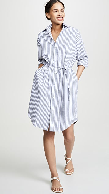 Vince Oversized Space Dye Stripe Shirt Dress