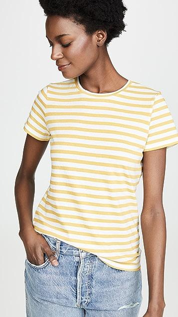 Vince 孟加拉条纹基本版型圆领 T 恤
