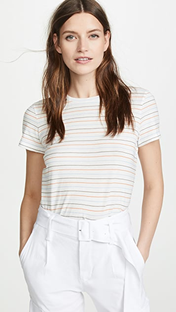 Vince Multi Stripe Essential Crew Tee