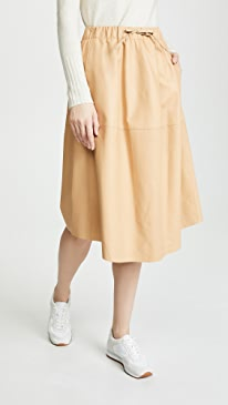 Paneled Leather Skirt
