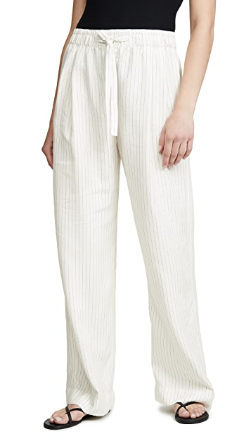 Vince Pencil Stripe Pull On Pants
