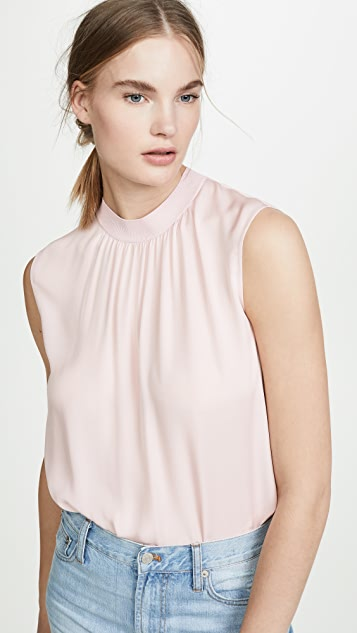 Vince Ribbed Trim Shell Top
