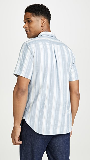 Vince Short Sleeve Striped Oxford Shirt