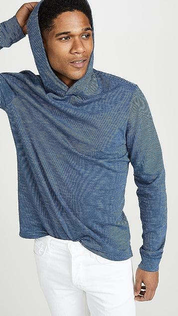 Vince Long Sleeve Striped Slub Pullover Hoodie