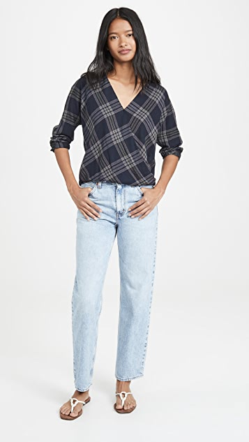 Vince 纹理格子交叉女式衬衫