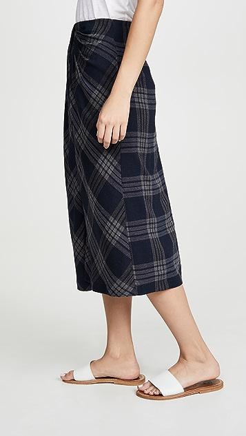 Vince Textured Plaid Drape Skirt