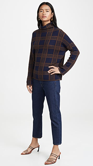 Vince Tartan Plaid Funnel Neck Pullover