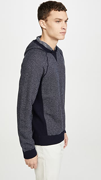 Vince Long Sleeve Birdseye Pullover Cashmere Hoodie