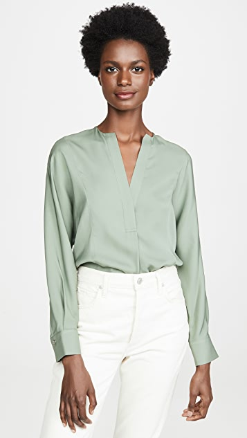 Half Placket Blouse by Vince