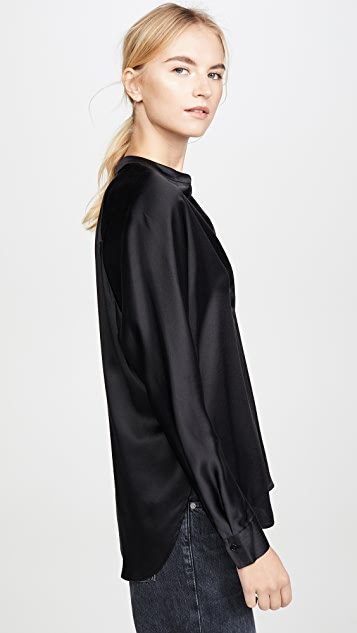 Vince Band Collar Blouse