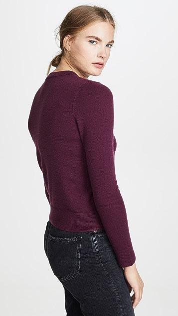 Vince Кашемировый свитер с округлым вырезом и накладным элементом