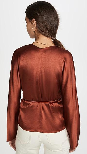 Vince 裹身式真丝绑带女式衬衫