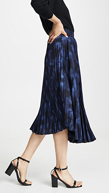 Vince Winter Tie Dye Pleated Skirt