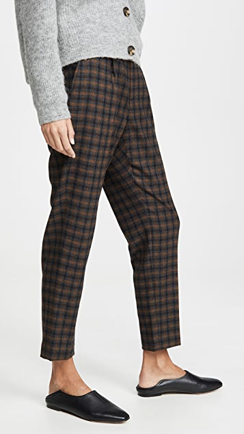 Vince Plaid Pull On Pants