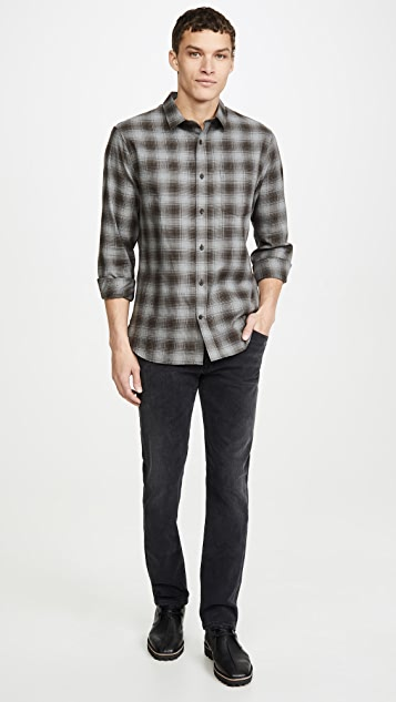 Vince Cotton Twill Plaid Long Sleeve Shirt