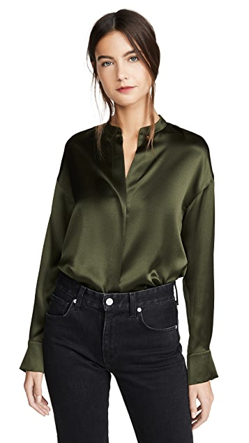 Vince Long Sleeve Wrap Blouse