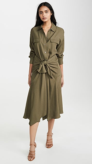 Vince Dress Tie Front Shirtdress