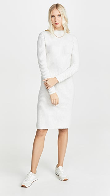 Vince Dress Ribbed Long Sleeve Dress